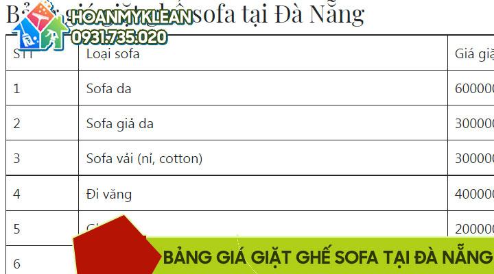 bảng giá giặt ghế sofa tại Đà Nẵng